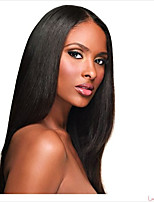 Middle Part Natural Remy Straight Wig Human Virgin Hair Glueless Lace Front Wig with Baby Hair