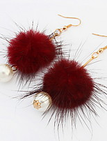 Euramerican Fashion  Personalized Rock Simple Pom Pearl Earrings Lady Party Statement Jewelry