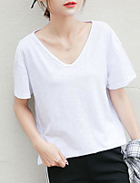 Women's Casual/Daily Simple T-shirt,Solid V Neck Short Sleeve Cotton