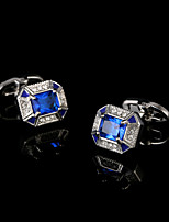 Atmosphere Blue Crystal Men's French Cufflinks Square Cuff Button Shirt Brand Cuff Links Jewelry Wedding Gift for Guests