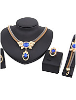 Jewelry Set Necklace/Bracelet Bridal Jewelry Sets Rhinestone Euramerican Fashion Classic Rhinestone Zinc Alloy Crown Blue1 Necklace 1
