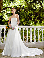 2017 LAN TING BRIDE A-line Wedding Dress - Elegant & Luxurious Open Back Chapel Train Strapless Satin Tulle withBeading Button Flower Ruche