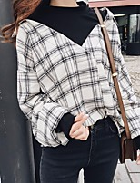 Women's Casual/Daily Simple Shirt,Plaid Patchwork Round Neck Long Sleeve Others