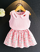 Girls' Going out Casual/Daily Striped Print Embroidered Sets,Cotton Summer Sleeveless Clothing Set
