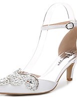 Women's Sandals D'Orsay & Two-Piece Silk Wedding Outdoor Office & Career Party & Evening Dress Casual Stiletto HeelRhinestone Crystal