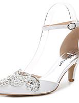 Damen-Sandalen-Hochzeit Outddor Büro Kleid Lässig Party & Festivität-Seide-Stöckelabsatz-D'Orsay und Zweiteiler-Weiß