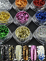 9g/set Hot Fashion Colorful Magical Mirror Starry Sky Effect Nail Art Glitter Powder Shining Irregular Flakes Decoration Nail Beauty Random Delivery