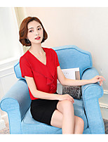 Women's Casual/Daily Simple Summer Blouse,Solid V Neck Short Sleeve Polyester