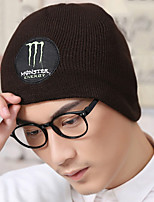 Autumn Men's Plus Cashmere Winter Outdoor Alphabet Embroidery Knitted Woolen Hat