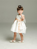 Ball Gown Short / Mini Flower Girl Dress - Organza Jewel with Bow(s) Lace Sash / Ribbon Pleats