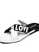Белый Черный-Для мужчин-Повседневный-ПолиуретанУдобная обувь Светодиодные подошвы-Тапочки и Шлепанцы