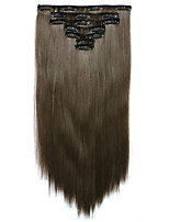 7pcs/Set 130g Ash Brown Straight 50cm Hair Extension Clip In Synthetic Hair Extensions