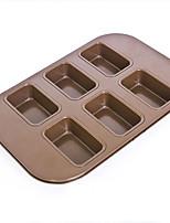 6 cups rectangle shape cake pan non stick cake mould food grade carbon steel FDA