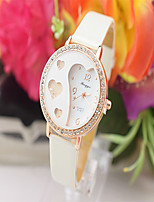 Women's Fashion Watch Quartz Leather Band White Red Pink