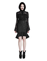 Punk Rave Q-303 Women's Sexy Vintage Punk Gothic Mermaid Lace Ruffle Skirts