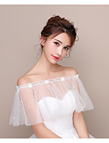 Korean Wrap Capelets Tulle Wedding Party/Evening Pearls Cascading Ruffle Rhinestone