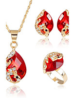 Women Wedding Party Crystal Turquoise Red Water Drop Pendant Necklace Earrings Sets 18K Gold Plated Jewelry Sets(NecklaceEarringsRings)