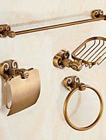 Antique Brass Horn Style 4pc Bathroom Accessory Set