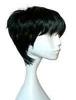 Capless Woman Black Short Straight Wig Heat Resistant Synthetic Hair