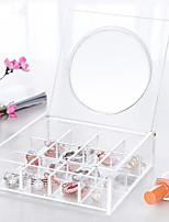 Acrylic Transparent Portable Quadrate 3x4 Cosmetics Makeup Storage Stand Box Cosmetic Organizer for Lipstick Nail Polish with Lid&Mirror