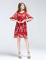 Для женщин На выход На каждый день Богемный Очаровательный Уличный стиль А-силуэт Платье С животными принтами,Круглый вырез До колена