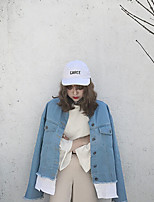 Women's Casual/Daily Simple Fall Denim Jacket,Solid Round Neck Long Sleeve Regular Linen