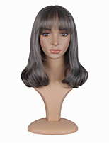 Popular Grey Color Short Wave Synthetic Wigs Cosplay For Afro European Women