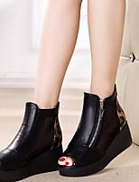 Women's Sandals Spring Comfort PU Casual Wedge Heel Black