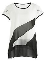 Women's Going out Street chic Fall T-shirt,Color Block Round Neck Short Sleeve Polyester