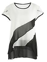 Damen Einfarbig Street Schick Ausgehen T-shirt,Rundhalsausschnitt Herbst Kurzarm Polyester