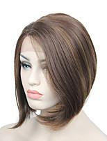Fashion lace front peruca fibra resistente ao calor curto reto bob lateral bangs mulheres perucas