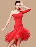 Latin Dance Dresses Women's Performance Polyester Tulle Milk Fiber Ruffles Split Front 2 Pieces Sleeveless 3/4 Length Sleeve NaturalDress