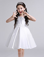 A-line Knee-length Flower Girl Dress - Satin Jewel with Appliques