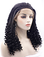 Yiyaobess Heat Resistant Synthetic Lace Front Wig Medium Hairstyles Glueless Black Micro Braided Wigs For African American Women