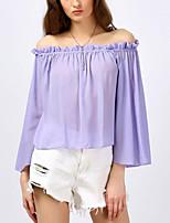 Women's Casual/Daily Street chic Summer T-shirt,Solid Round Neck Short Sleeve Cotton Medium