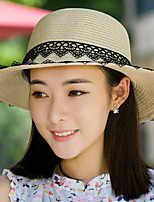 Woman Summer Jazz Cap Sunscreen Linen Straw Lace Beach Hat