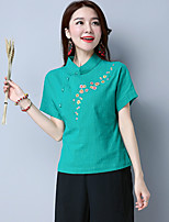 Women's Casual/Daily Chinoiserie Shirt,Embroidered Square Neck Short Sleeve Linen