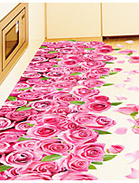 3D Pink Roses Romantic Bedroom Living Room Bathroom Wall Stick Floor