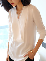 Women's Casual/Daily Simple Shirt,Solid V Neck Long Sleeve Polyester