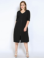 Really Love Women's Plus Size Casual/Daily Work Sexy Simple Cute Shift T Shirt Tunic Dress,Solid U Neck Midi ½ Length Sleeve Polyester Spring Summer