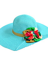 Uv Lace Flower Summer Straw Hat Cap Beautiful Girl&lady Round Wide Brim Hawaii Folding Soft Sun Hat Casual Foldable Brimmed Beach Hats For Women