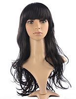 Hot Sale Long Wavy Wig Synthetic Fiber Wig Natural Black Color For Women Style With Neat Bangs
