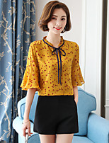 Women's Beach Cute Street chic Blouse,Floral V Neck ½ Length Sleeve Special Leather Types
