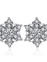 Stud Earrings AAA Cubic Zirconia Flowers Sterling Silver Jewelry For Wedding Party Daily Casual 1 pair