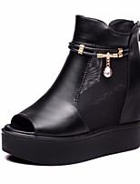 Damen-Flache Schuhe-Lässig-PU-Blockabsatz-Fersenriemen-Schwarz