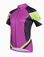 Camisa para Ciclismo Mulheres Manga Curta Moto Camisa/Roupas Para EsporteSecagem Rápida Respirável Materiais Leves Bolso Traseiro Redutor