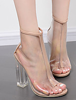 Women's Boots Summer Transparent Shoe Rubber Dress Chunky Heel Crystal Heel Almond