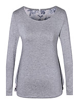 Women's Casual/Daily Simple T-shirt,Solid Round Neck Long Sleeve Cotton