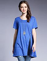 Damen Solide Einfach Ausgehen Lässig/Alltäglich T-shirt,Rundhalsausschnitt Sommer Kurzarm Baumwolle Elasthan Mittel
