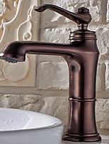 Antique Set de centre Douche pluie with  Soupape céramique Mitigeur un trou for  Bronze huilé , Robinet lavabo